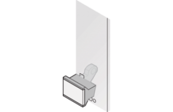 Extractor Handle Trapezoid Form, Type 1, Bottom, Black